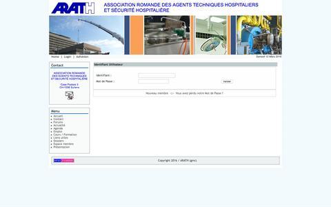 Screenshot of Login Page arath.ch - Section membre pour personnaliser le site - ARATH - captured March 12, 2016