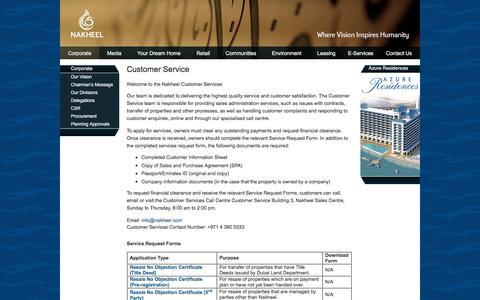 Screenshot of Support Page nakheel.com - Customer Service - captured Jan. 11, 2016