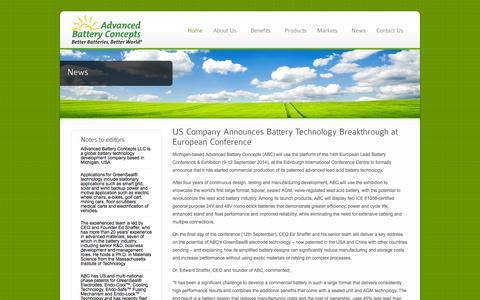 Screenshot of Press Page advancedbatteryconcepts.com - Advanced Battery Concepts   News - captured Nov. 5, 2014