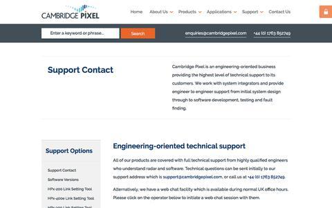 Screenshot of Support Page cambridgepixel.com - Sensor Processing - Support Contact | Cambridge Pixel - captured Nov. 8, 2019