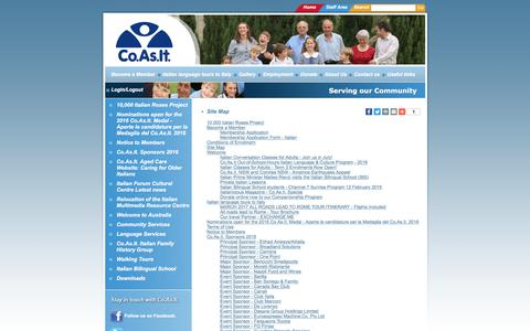 Screenshot of Site Map Page coasit.org.au - Co.As.It. Sydney Italian Language & Community Services - captured July 19, 2018
