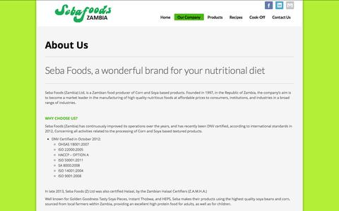 Screenshot of About Page sebafoods.co.zm - Seba Foods | About Us - captured Oct. 4, 2014