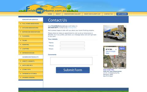Screenshot of Contact Page finishmyhome.com.au - 08 9408 0077 Contact Finish My Home | finishmyhome.com.au - captured Oct. 6, 2014