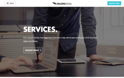 Screenshot of Support Page falconsocial.com - Social Media - Dedicated Services & Support | Falcon Social - captured Oct. 28, 2014