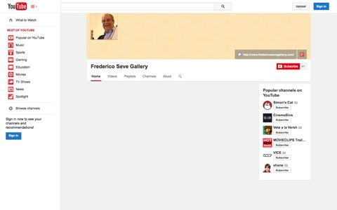 Screenshot of YouTube Page youtube.com - Frederico Seve Gallery  - YouTube - captured Oct. 25, 2014