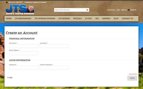 Screenshot of Signup Page jtsonline.com.au - Create New Customer Account | Jamie's Touring Solutions - captured Oct. 6, 2014