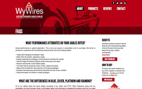 Screenshot of FAQ Page wywires.com - Answers to Audio Cable, Handmade vs. Machine Questions | WhyWires | Custom Audio Cables | Digital Audio Cables | WyWires - captured Oct. 26, 2014