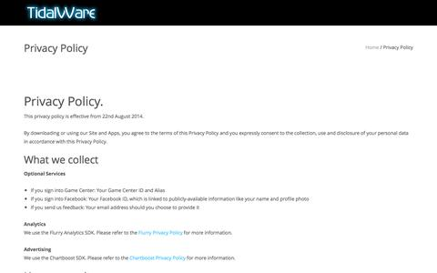 Screenshot of Privacy Page tidalware.com - Privacy Policy | TidalWare™ - captured Feb. 26, 2016