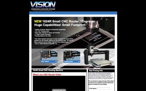 Screenshot of Landing Page visionengravers.com - Small CNC Router   1624R Router   Vision Engraving & Routing - captured Oct. 27, 2014