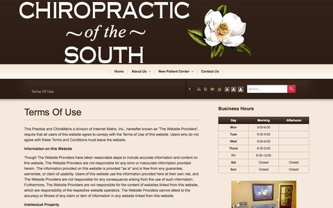 Screenshot of Terms Page chiroofthesouth.com - Chiropractic Of The South - Chiropractor In Madison, MS USA :: Terms Of Use - captured Oct. 2, 2014