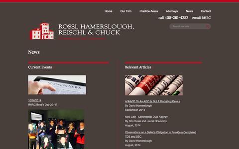 Screenshot of Press Page rhrc.net - News - Law Firm Rossi, Hamerslough, Reischl & Chuck Attorneys San Jose, California - captured Nov. 4, 2014