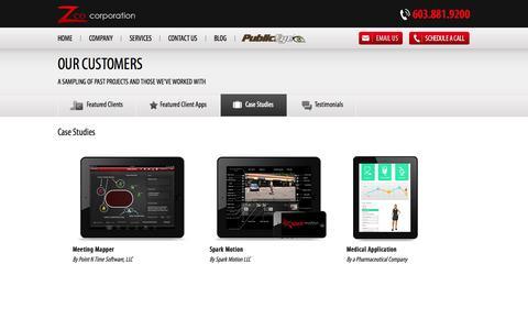 Screenshot of Case Studies Page zco.com - Zco Corporation | Mobile App Case Studies - captured Oct. 27, 2014