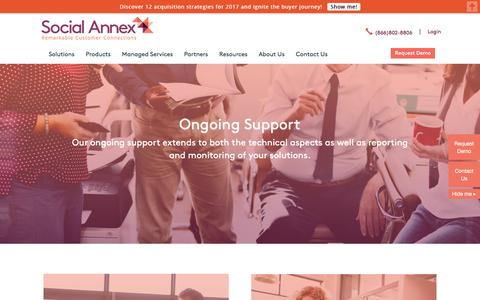 Screenshot of Support Page socialannex.com - Advocate Marketing Software | Ongoing Support | Social Annex - captured Aug. 26, 2016