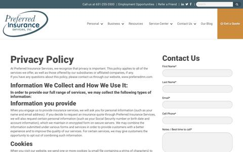 Screenshot of Privacy Page preferredmn.com - Privacy Policy - Preferred Insurance Services - captured Aug. 21, 2017