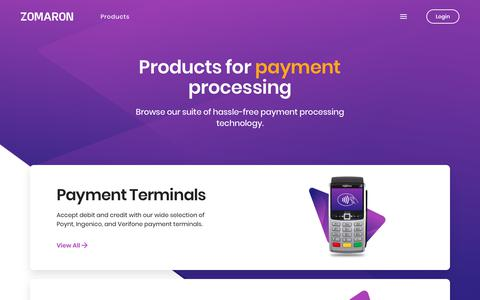 Screenshot of Products Page zomaron.com - Products for Payment Processing | Zomaron Merchant Services - captured Sept. 21, 2018