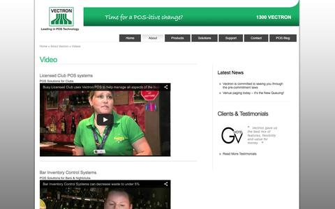 Screenshot of Press Page vectron.com.au - POS Demo and Customer Interview Videos  - Vectron POS - captured Feb. 13, 2016