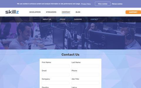 Screenshot of Contact Page skillz.com - Contact - Skillz - captured Nov. 5, 2018