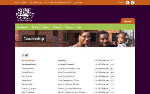 Screenshot of Team Page some.org - Leadership | So Others Might Eat - captured Nov. 2, 2014