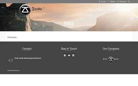 Screenshot of FAQ Page zarbiestudio.com - FAQ | zarbiestudio.com - captured Dec. 5, 2015
