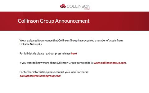 Screenshot of Home Page linkablenetworks.com - Collinson Group - captured March 16, 2018