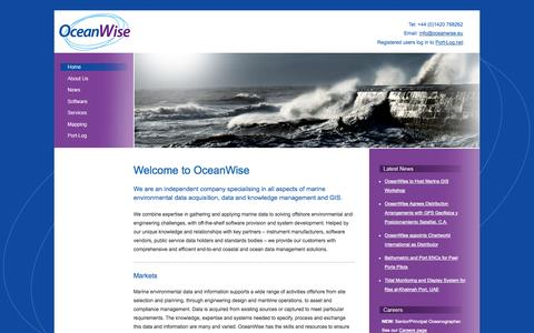 Screenshot of Home Page oceanwise.eu - Marine Environmental Data, Software, Services, Expertise and GIS from oceanwise.eu - captured Oct. 7, 2014