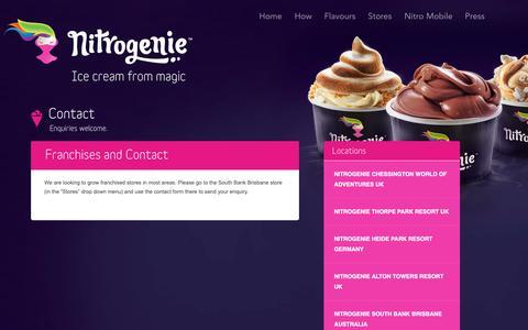 Screenshot of Contact Page nitrogenie.com - Nitrogenie | Contact - captured June 2, 2019
