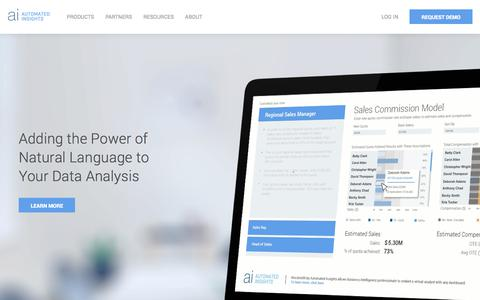Screenshot of Home Page automatedinsights.com - Homepage | Automated Insights - captured June 12, 2018