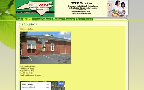 Screenshot of Maps & Directions Page ncrdservices.com - Our Locations in Matthews & Gastonia | Nutritional Counseling & Certified Diabetes Educators | NCRD Services, Matthews, NC - captured Sept. 30, 2014