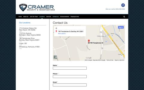Screenshot of Contact Page Locations Page cramersecurityandinvestigations.com - Cramer Security & Investigations | Contact Us - captured Oct. 22, 2014