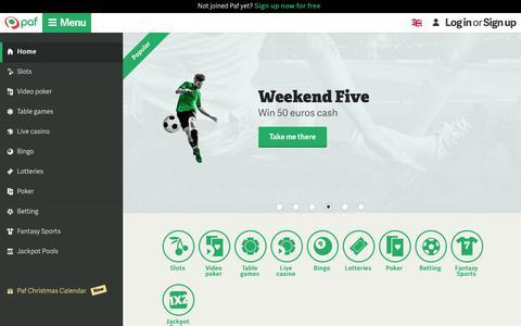 Screenshot of Home Page paf.com - Paf.com – Online Casino with Slots, Bingo, Poker & Betting - captured Dec. 12, 2018