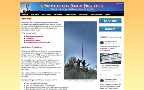 Screenshot of Services Page prometheusradio.org - Services   Prometheus Radio Project - captured Sept. 10, 2017