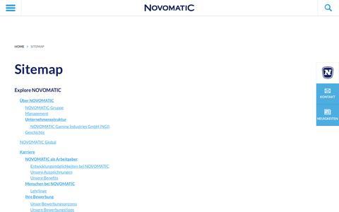 Screenshot of Site Map Page novomatic.com - Sitemap - NOVOMATIC - captured Dec. 3, 2016