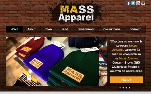 Screenshot of Home Page mass-apparel.com - Home » Mass Apparel - captured Sept. 30, 2014