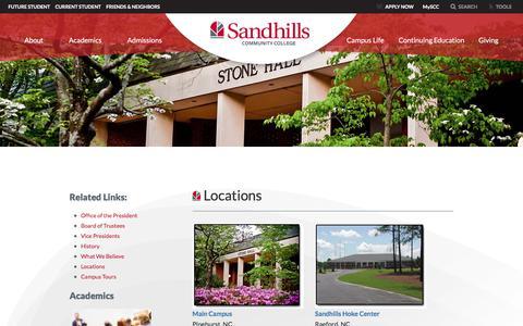 Screenshot of Locations Page sandhills.edu - Locations - Sandhills Community College - captured Oct. 4, 2017