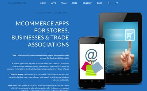 Screenshot of Home Page commerce-apps.com - MCOMMERCE MOBILE APPS FOR SALES | COMMERCE-APPS.COM - captured Jan. 26, 2015