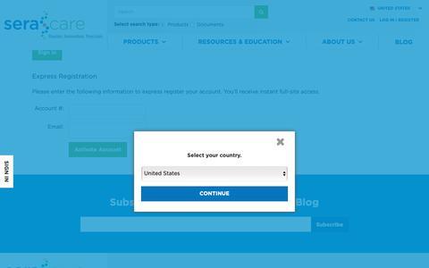 Screenshot of Login Page seracare.com - Login, Returning Customer | SeraCare - captured Oct. 19, 2018