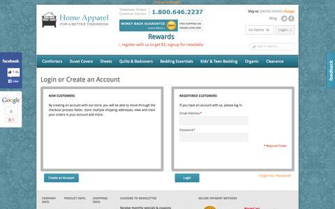 Screenshot of Login Page homeapparel.com - Customer Login | Home Apparel - captured Sept. 24, 2014