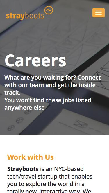 Screenshot of Jobs Page  strayboots.com - Careers Stray Boots