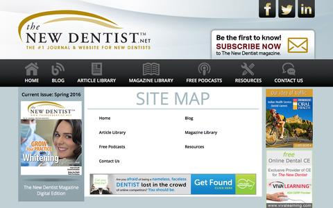Screenshot of Site Map Page thenewdentist.net - The New Dentist – New Dentist Resources, New Dentist Buzz Blog, New Dentist Practice Management, New Dentist Practice Issues, New Dentist Start Up - captured Feb. 28, 2016