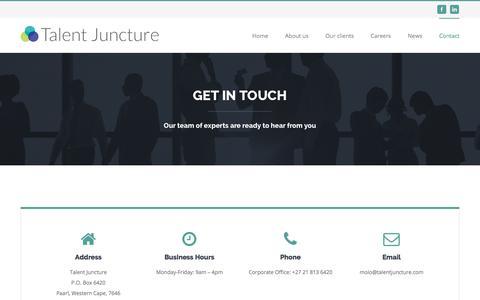 Screenshot of Contact Page talentjuncture.com - Contact Us – Talent Juncture - captured June 16, 2017
