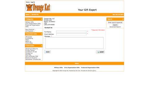 Screenshot of Contact Page myorangekat.com - Contact Us : Orange Kat, Your Gift Expert - captured Oct. 26, 2014