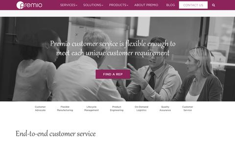 Screenshot of Support Page premioinc.com - End-to-End Customer Service | Premio - captured May 21, 2017