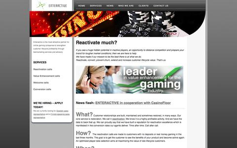 Screenshot of Home Page enteractive.se - Enteractive - a leader in value enhancement for the gaming industry - captured Oct. 3, 2014