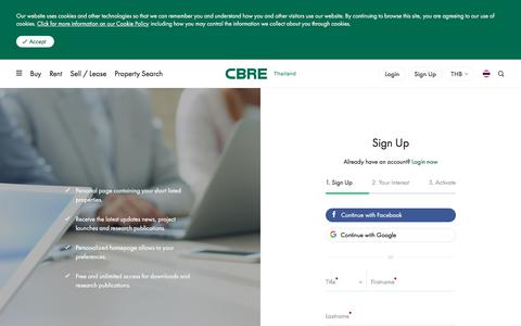 Screenshot of Signup Page cbre.co.th - Members Sign Up | CBRE Thailand - captured Aug. 9, 2019