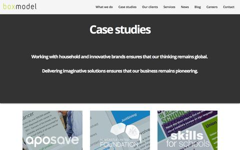 Screenshot of Case Studies Page boxmodeldigital.com - Delivering effective software and websites for global brands - captured Jan. 18, 2016
