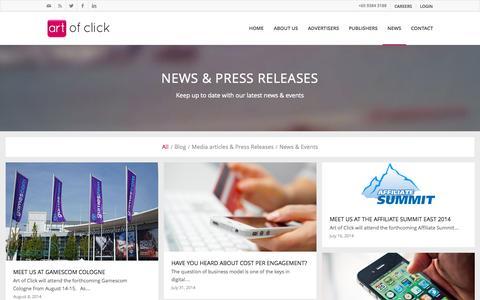 Screenshot of Press Page artofclick.com - Art of Click | Mobile media agency news - captured Oct. 31, 2014