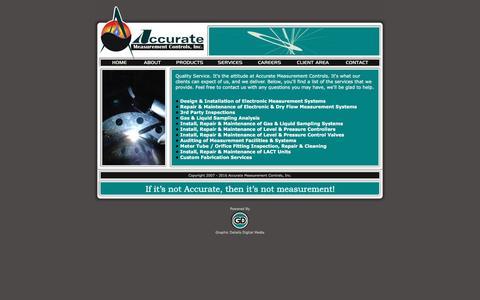 Screenshot of Services Page accuratemeasurement.net - Accurate Measurement Controls, Inc. - captured Feb. 5, 2016