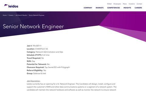 Screenshot of Jobs Page leidos.com - Senior Network Engineer in CHANTILLY, VA - Leidos - captured Jan. 29, 2019