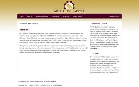 Screenshot of About Page millcitycapital.com - Minneapolis Private Equity -- Middle-Market Focused -- Mill City Capital - captured Oct. 7, 2014