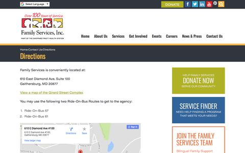 Screenshot of Maps & Directions Page fs-inc.org - Directions to Family Services Inc. in Gaithersburg, MD - captured Oct. 13, 2017